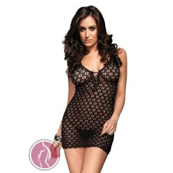 MINI DRESS W/LACE UP FRONT & G-STRING O/S BLK