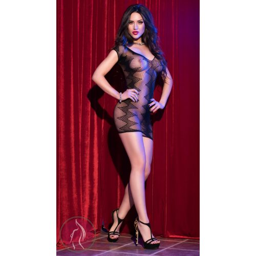 CR 4052  SM  Black Seamless Minidress