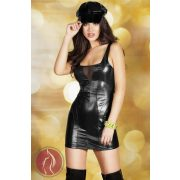 CR 3577  S  Black Leatherlook Minidress