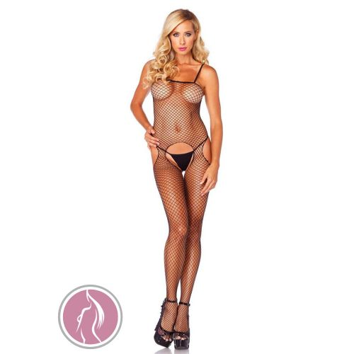 7289016 SEAMLESS INDUSTRIAL NET SUSPENDER BODYSTOCKING O/S BLK