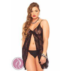 Rose Lace Babydoll Black Plus Size