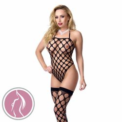 Big Hole Bodystocking With Stockings Black O/S